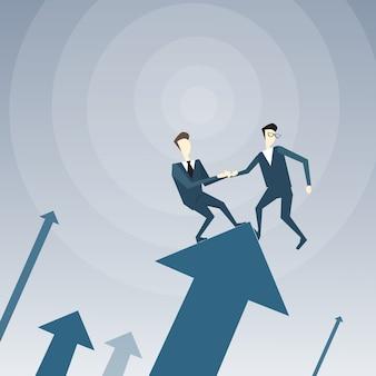 Twee zakenlieden staan op financiële pijl