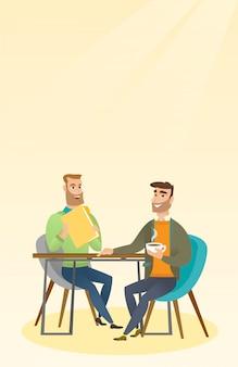 Twee zakenlieden tijdens zakelijke bijeenkomst.