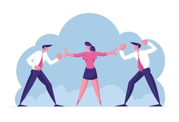 Twee zakenlieden vijanden staan hoofd aan hoofd ruzie en staren naar elkaar