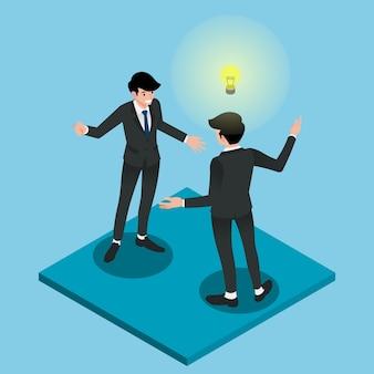 Twee zakenman die elkaar raadpleegt.
