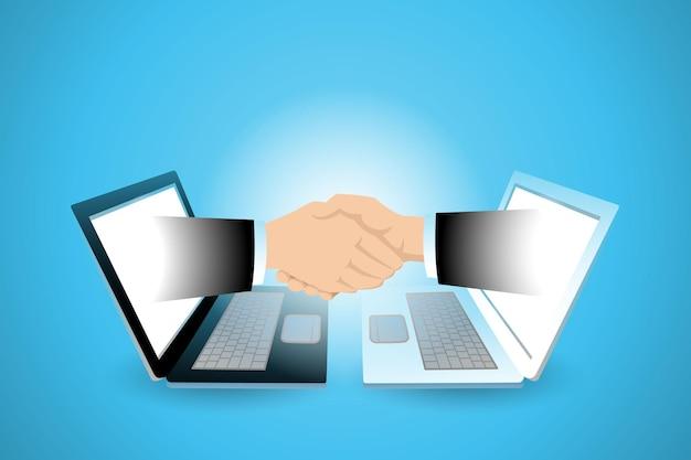 Twee zakenman hand die uit laptop verschijnt en de hand schudt
