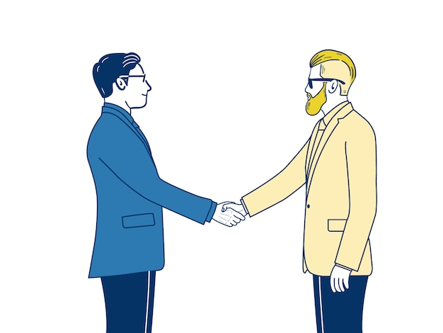 Twee zakenman handen schudden bij overeenkomst.