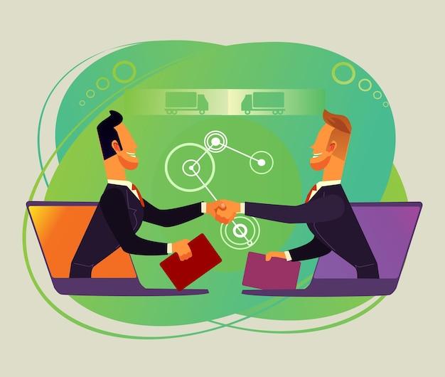Twee zakenman kantoorpersoneel karakters handen schudden door internet online samenwerking bedrijfsconcept