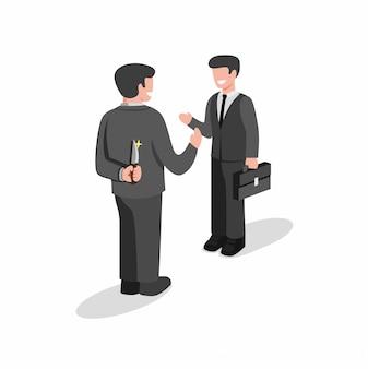 Twee zakenman permanent en maar eerst bedrijf mes achter rug naar rugsteek. verbergen moordenaar concept in cartoon vlakke afbeelding