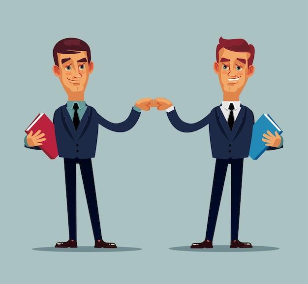 Twee zakenmankarakters die handen schudden.