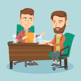 Twee zakenmannen tijdens zakelijke bijeenkomst.