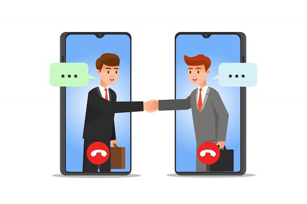 Twee zakenmensen maken virtuele zakelijke deals