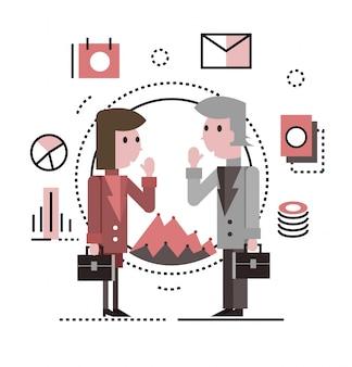 Twee zakenmensen praten en bespreken. platte karakterontwerp. platte lijn iconen. vector illustratie