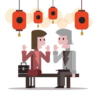 Twee zakenmensen praten op lantaarn festival. platte karakterontwerp. vector illustratie