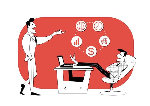 Twee zakenpartners bespreken de voortgang van het werk. zakelijk contract, idee financiering.