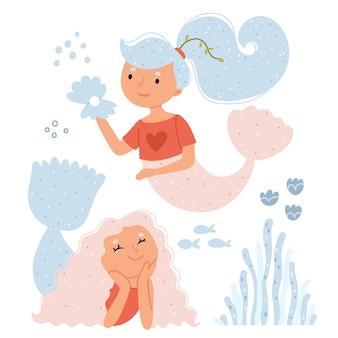 Twee zeemeerminnen glimlachen naar vissen en koralen onderwater fantasiewereld