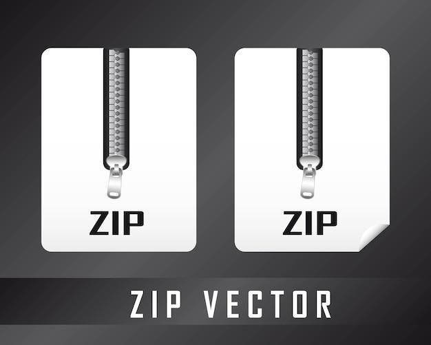 Twee zip-documenten over zwarte achtergrond vectorillustratie