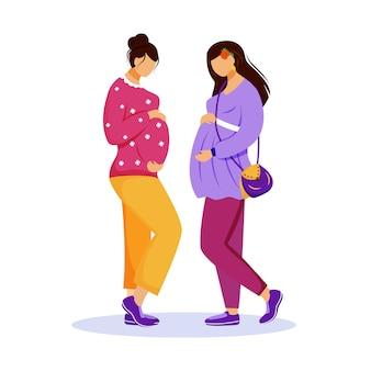 Twee zwangere vrouwen vlakke afbeelding. vrouwelijke vriendschap. in afwachting van baby's. vriendinnen die hun buik strelen tijdens het ontmoeten van geïsoleerde stripfiguren op een witte achtergrond