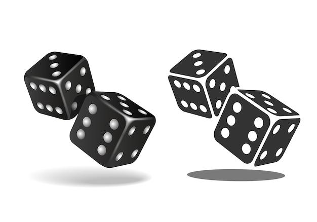Twee zwarte vallende dobbelstenen geïsoleerd op wit