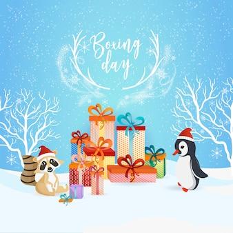 Tweede kerstdag blauwe achtergrondontwerp