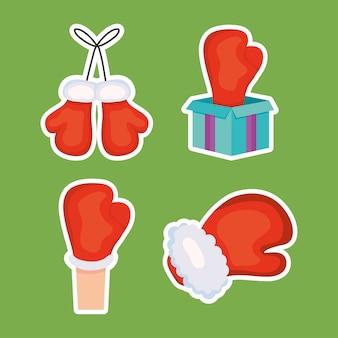 Tweede kerstdag concept, bokshandschoenen en geschenkdoos over groene achtergrond