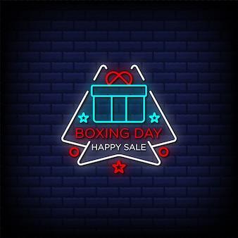 Tweede kerstdag gelukkige verkoop promotionele aanbieding neonreclamestijltekst