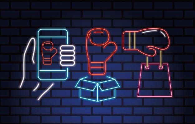 Tweede kerstdag neonlichten met set iconen vector illustratie ontwerp