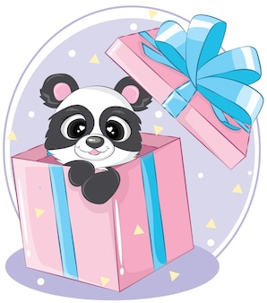 Tweede kerstdag panda beer op de roze geschenkdoos