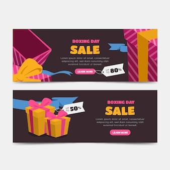 Tweede kerstdag verkoop banners in plat ontwerp