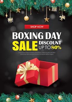 Tweede kerstdag verkoop met rode geschenk doos reclame sjabloon voor spandoek.