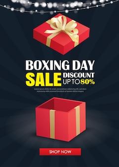 Tweede kerstdag verkoop met rode geschenkdoos reclame poster sjabloon.
