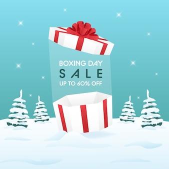 Tweede kerstdag verkoop op winter achtergrond voor reclame of promotie concept
