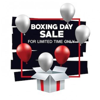 Tweede kerstdag verkoop poster met ballonnen helium in giftbox vector illustratie ontwerp