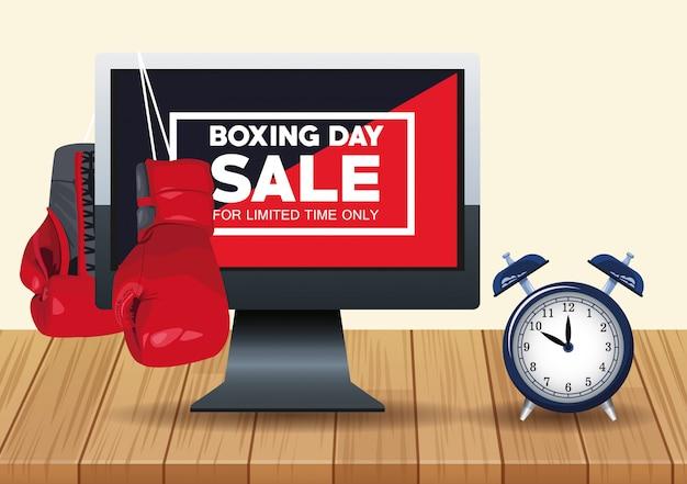 Tweede kerstdag verkoop poster met desktop en wekker vector illustratie ontwerp