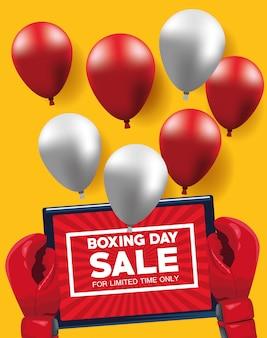 Tweede kerstdag verkoop poster met tablet en ballonnen helium vector illustratie ontwerp