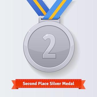Tweede plaats award zilveren medaille met blauw lint