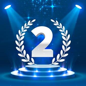 Tweede podiumpodium met verlichting, podiumpodiumscène met voor prijsuitreiking op blauwe achtergrond, vectorillustratie Premium Vector