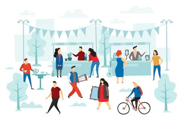 Tweedehands winkel. rommelmarkt, straatkraampjes en mode-kledingruil. mensen verkopen doek vlakke afbeelding