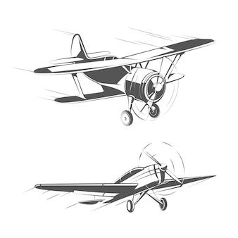Tweedekker en eendekker vliegtuigen voor vintage emblemen, badges en logo's vector set. luchtvaart vliegtuig transport illustratie