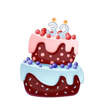 Tweeëndertig jaar verjaardagstaart met kaarsen nummer 32.