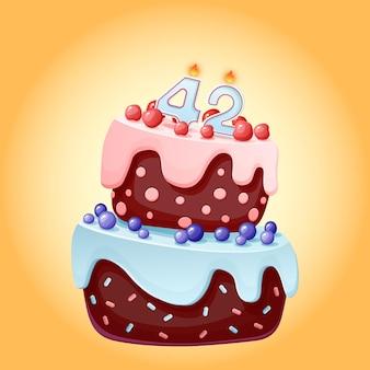 Tweeënveertig jaar verjaardagstaart met kaarsen nummer 42. leuke cartoon feestelijke vector afbeelding. chocoladekoekje met bessen, kersen en bosbessen. gelukkige verjaardagsillustratie voor feestjes