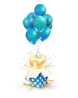 Tweeënzestig jaar vieringen groeten van tweeënzestig verjaardag geïsoleerde ontwerpelementen. open getextureerde geschenkdoos met cijfers en vliegen op ballonnen