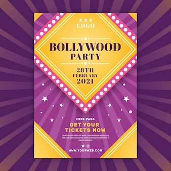 Tweekleurige bollywood party poster sjabloon