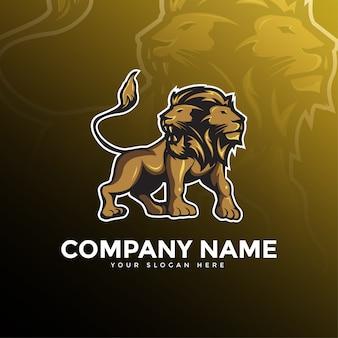 Tweekoppige lion mascot-logo
