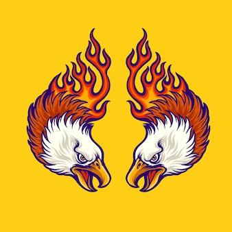 Tweeling adelaar met vlammen tattoo-illustratie
