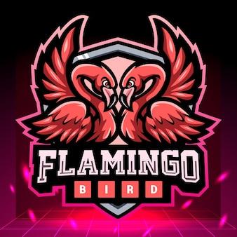 Tweeling flamingo mascotte esport logo ontwerp