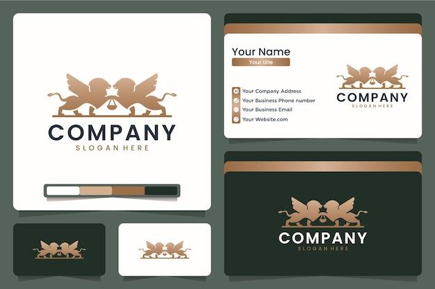 Tweeling leeuw, advocatenkantoor, logo-ontwerp en visitekaartje