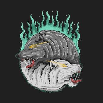 Tweeling wolf illustratie