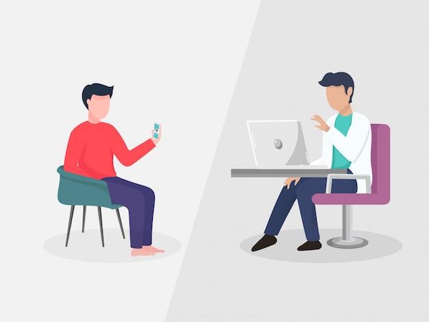 Tweepersoons die met elkaar van videogesprek door laptop en smartphone op grijze achtergrond spreken.