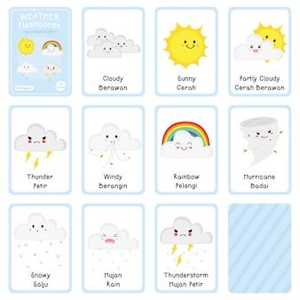 Tweetalig weer flashcards vector design