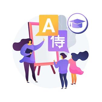 Tweetalige onderdompeling programma abstracte concept illustratie. programma voor vroege educatie, basisschool in vreemde talen, tweetalige kleuterschool, lesmethode voor onderdompeling