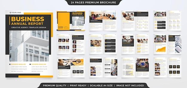 Tweevoudig brochuremalplaatjeontwerp met schone stijl en minimalistisch concept
