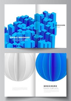 Tweevoudig brochureontwerp, 3d render compositie met dynamische realistische geometrische blauwe vormen in beweging.