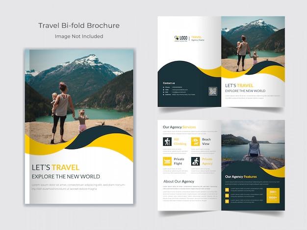 Tweevoudige brochure sjabloon reizen