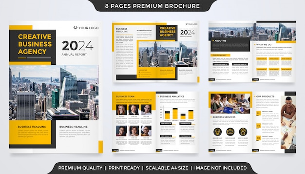 Tweevoudige brochuremalplaatje met strakke lay-out en premium stijl